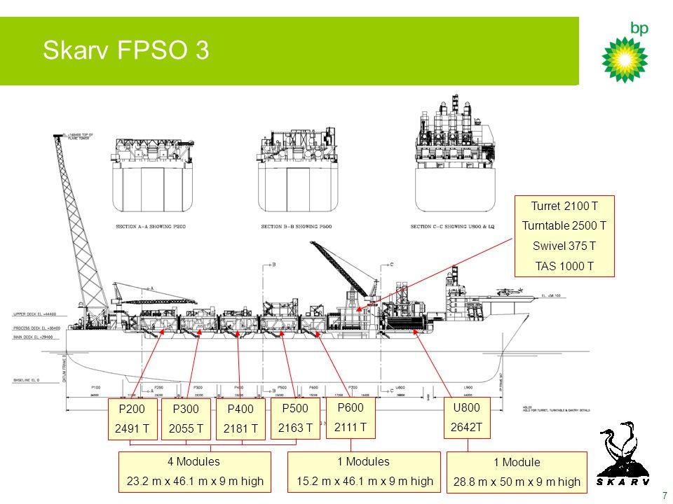 Skarv FPSO 3 Turret 2100 T Turntable 2500 T Swivel 375 T TAS 1000 T