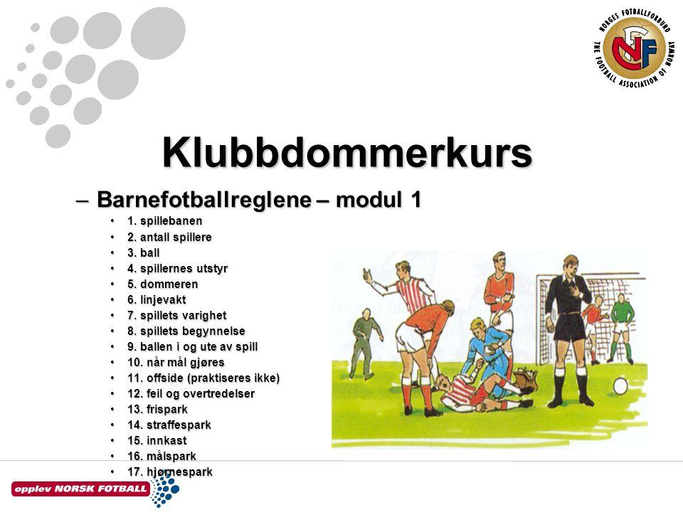 Klubbdommerkurs Barnefotballreglene – modul 1 1. spillebanen