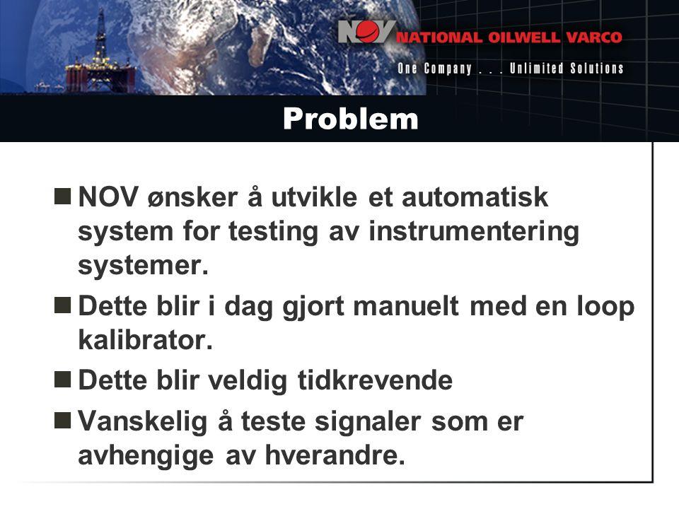 Problem NOV ønsker å utvikle et automatisk system for testing av instrumentering systemer. Dette blir i dag gjort manuelt med en loop kalibrator.