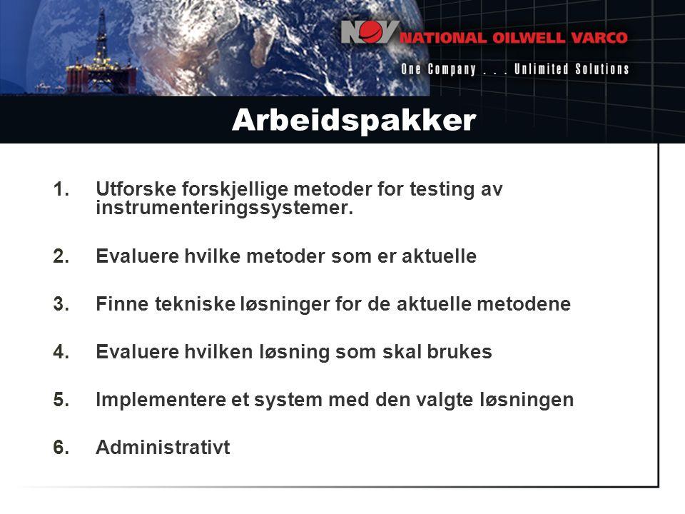 Arbeidspakker Utforske forskjellige metoder for testing av instrumenteringssystemer. Evaluere hvilke metoder som er aktuelle.