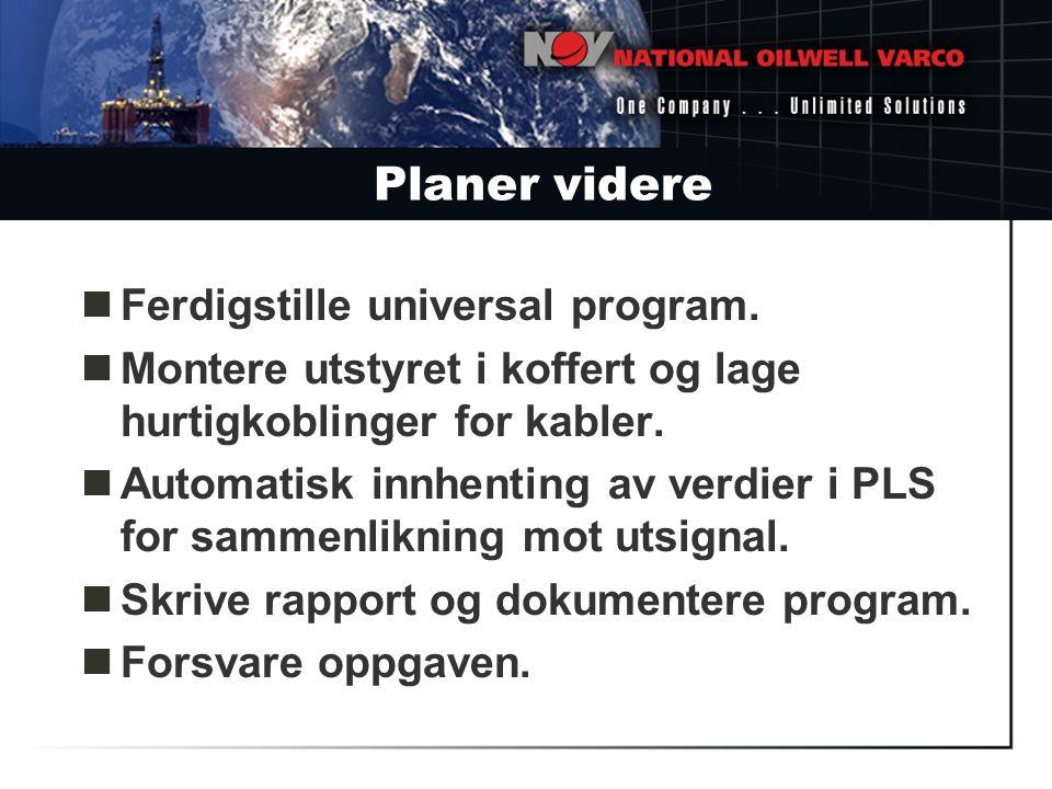 Planer videre Ferdigstille universal program.