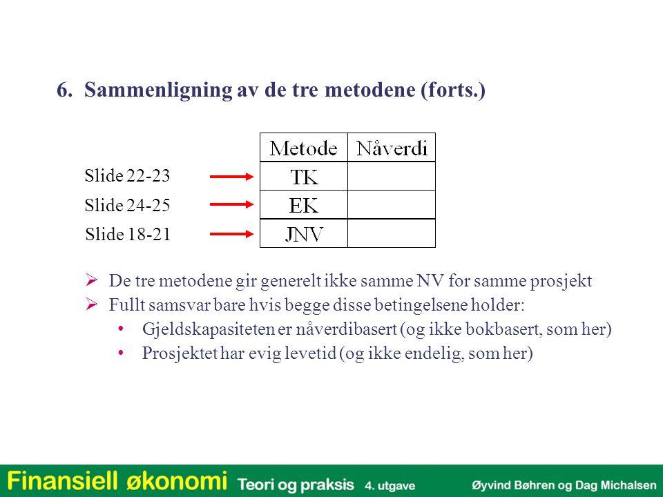 6. Sammenligning av de tre metodene (forts.)