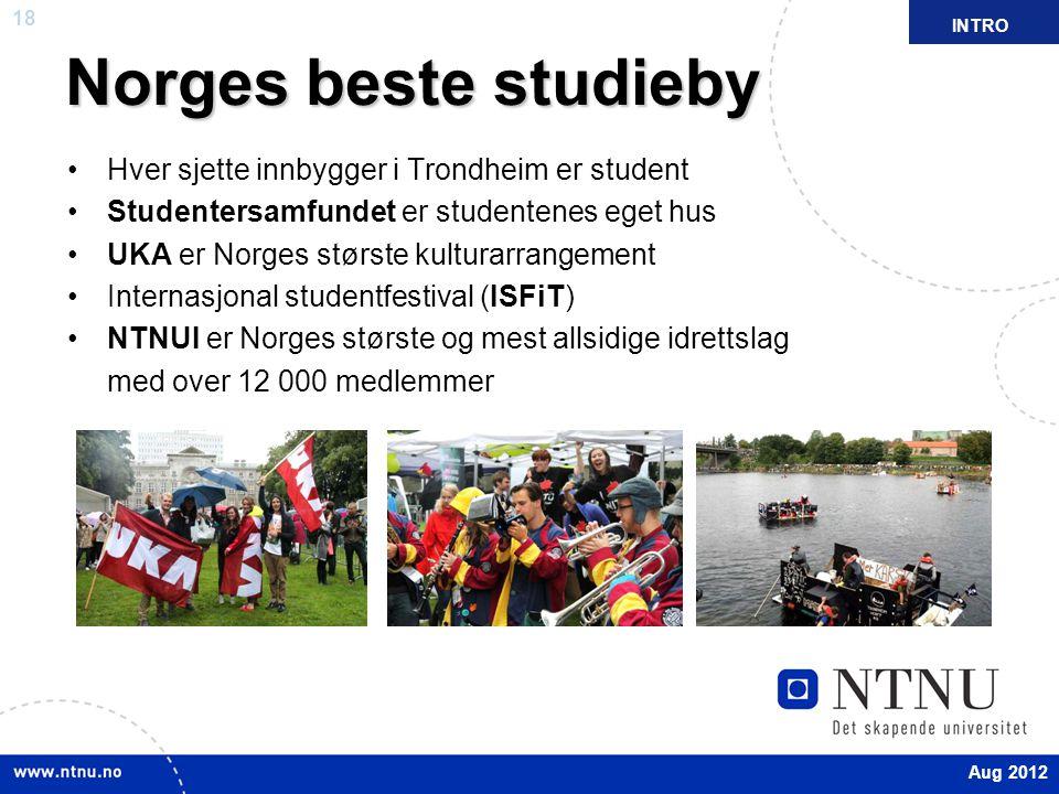 Norges beste studieby Hver sjette innbygger i Trondheim er student