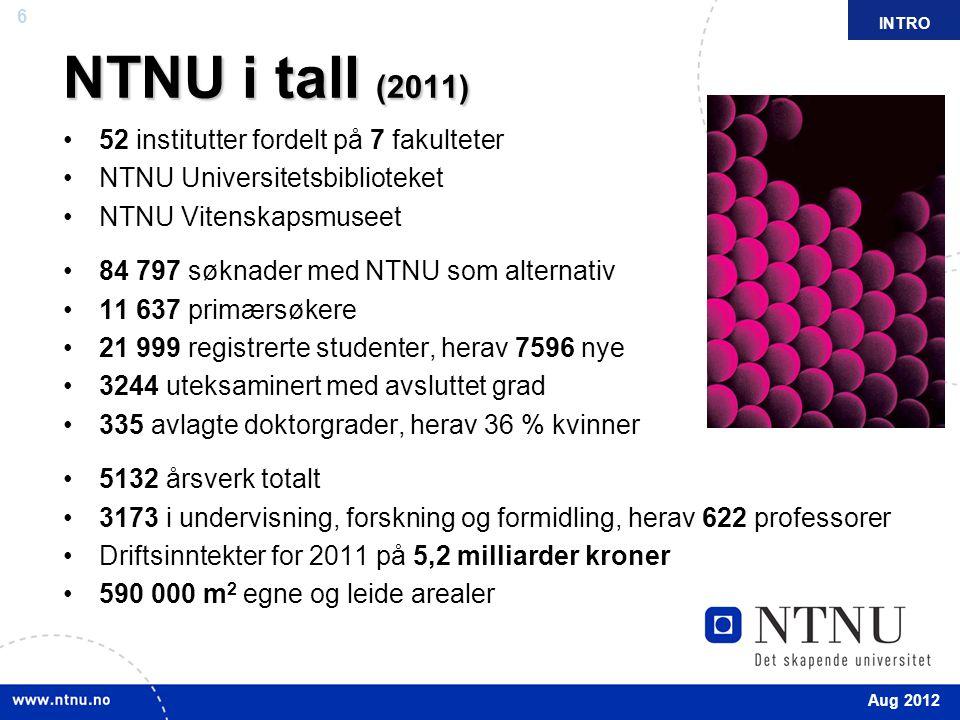 NTNU i tall (2011) 52 institutter fordelt på 7 fakulteter