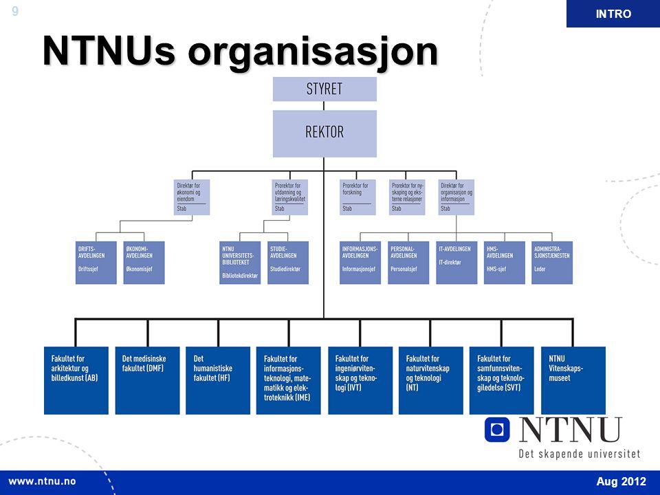 NTNUs organisasjon INTRO 1.5.2011