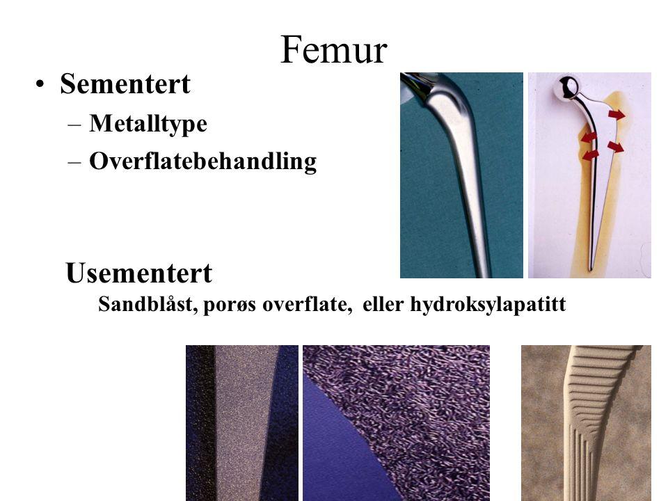 Femur Sementert Usementert Metalltype Overflatebehandling