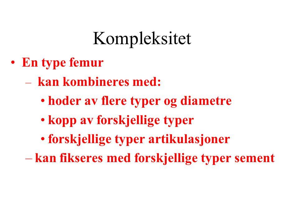 Kompleksitet En type femur hoder av flere typer og diametre