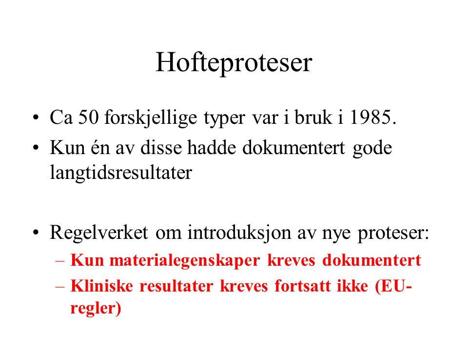 Hofteproteser Ca 50 forskjellige typer var i bruk i 1985.