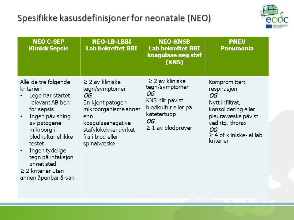 Spesifikke kasusdefinisjoner for neonatale (NEO)