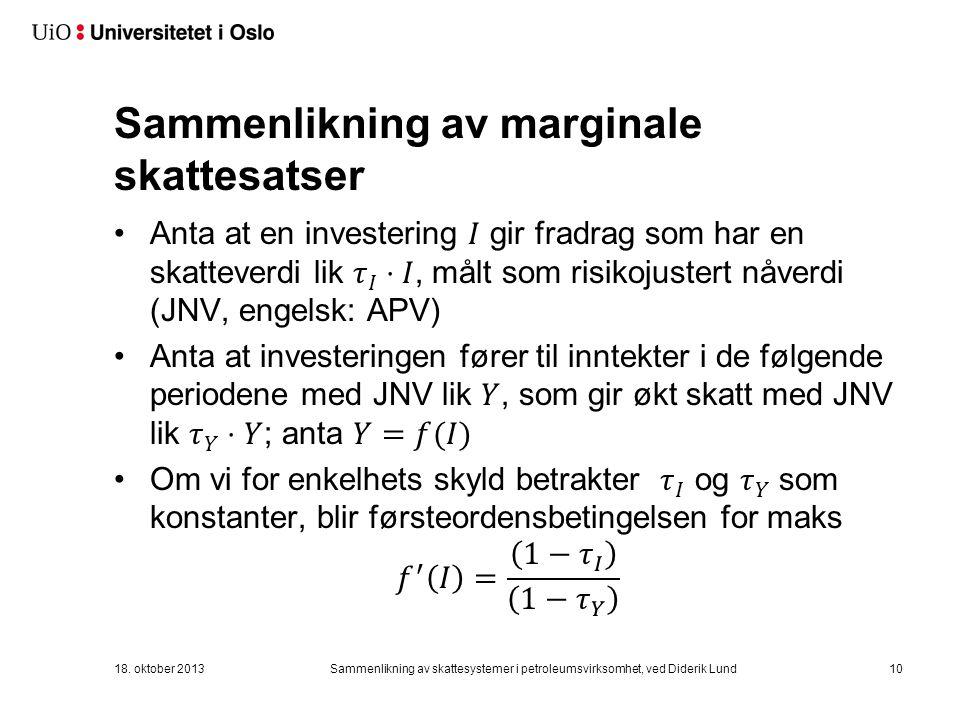 Sammenlikning av marginale skattesatser