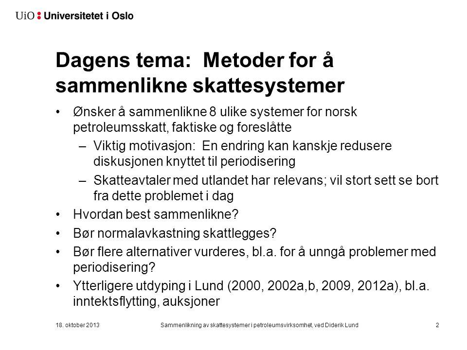 Dagens tema: Metoder for å sammenlikne skattesystemer