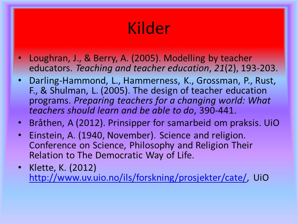 Kilder Loughran, J., & Berry, A. (2005). Modelling by teacher educators. Teaching and teacher education, 21(2), 193-203.