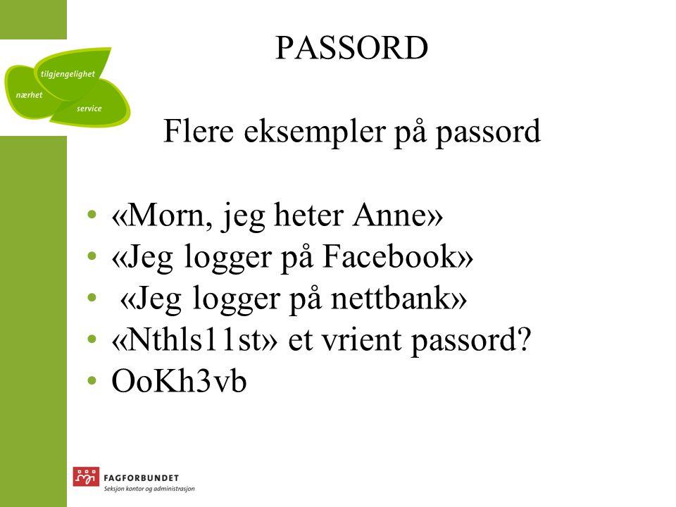 Flere eksempler på passord