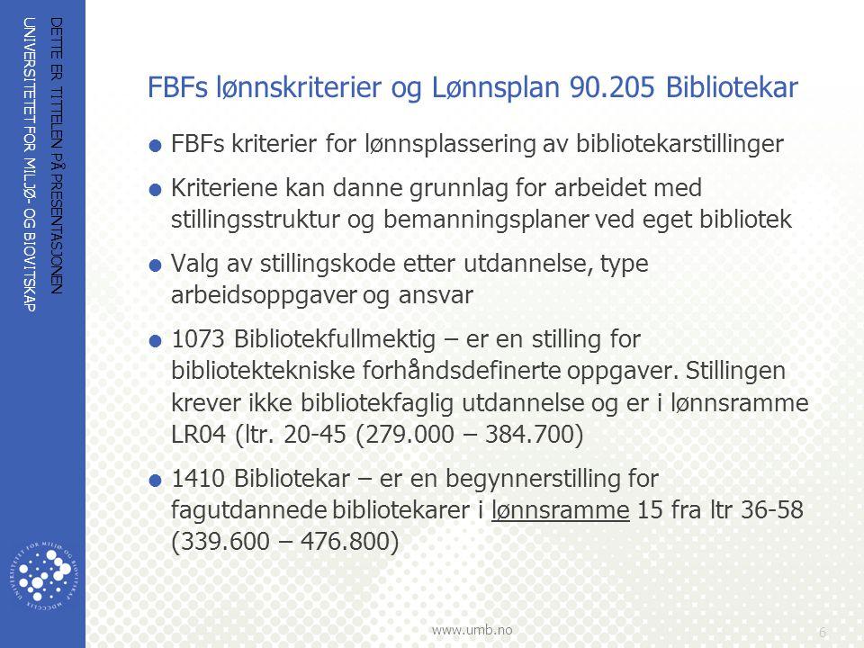 FBFs lønnskriterier og Lønnsplan 90.205 Bibliotekar