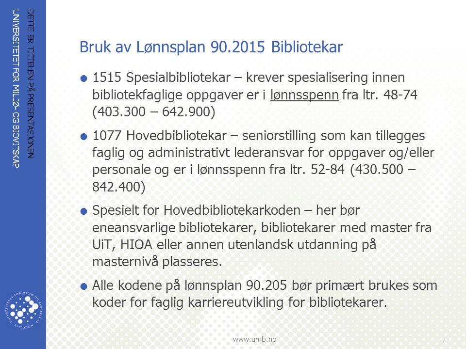 Bruk av Lønnsplan 90.2015 Bibliotekar