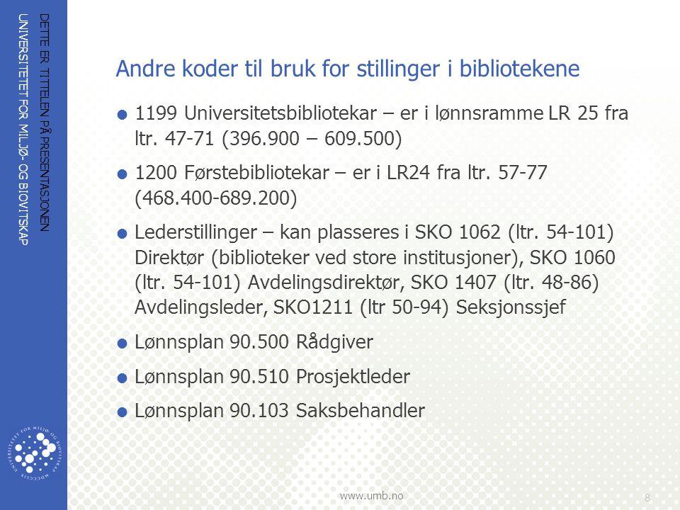 Andre koder til bruk for stillinger i bibliotekene