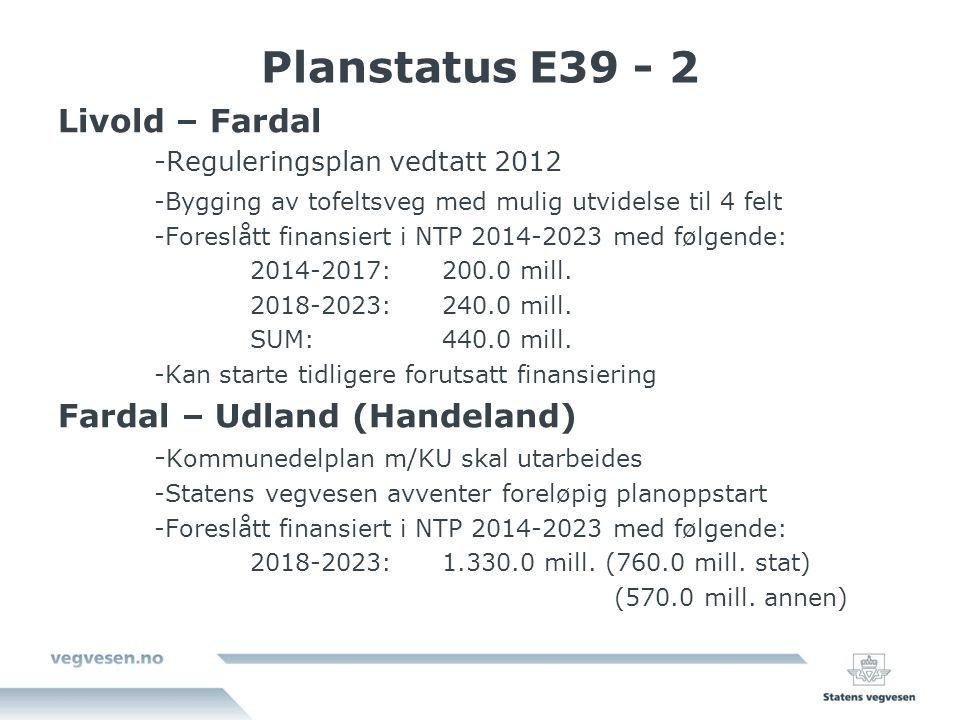 Planstatus E39 - 2 Livold – Fardal Fardal – Udland (Handeland)