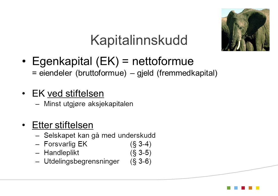 Kapitalinnskudd Egenkapital (EK) = nettoformue EK ved stiftelsen