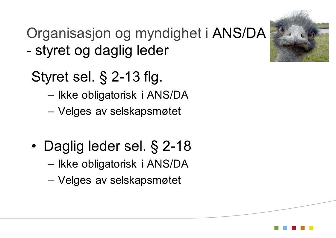 Organisasjon og myndighet i ANS/DA - styret og daglig leder
