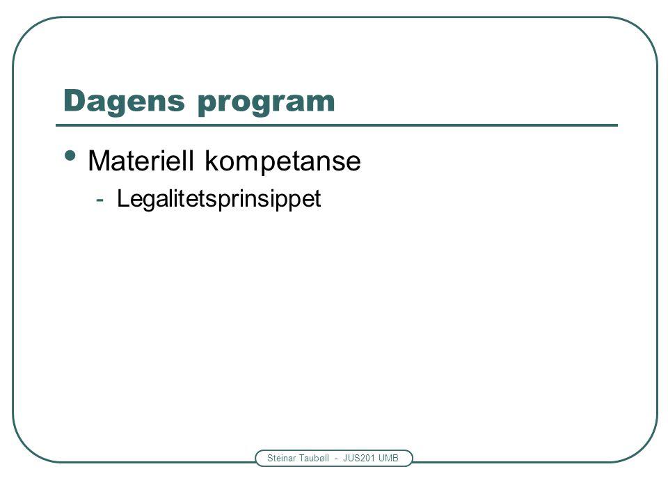 Dagens program Materiell kompetanse Legalitetsprinsippet