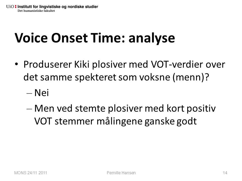 Voice Onset Time: analyse