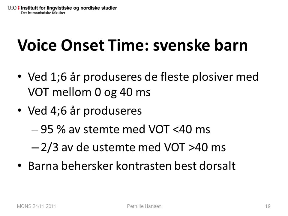 Voice Onset Time: svenske barn