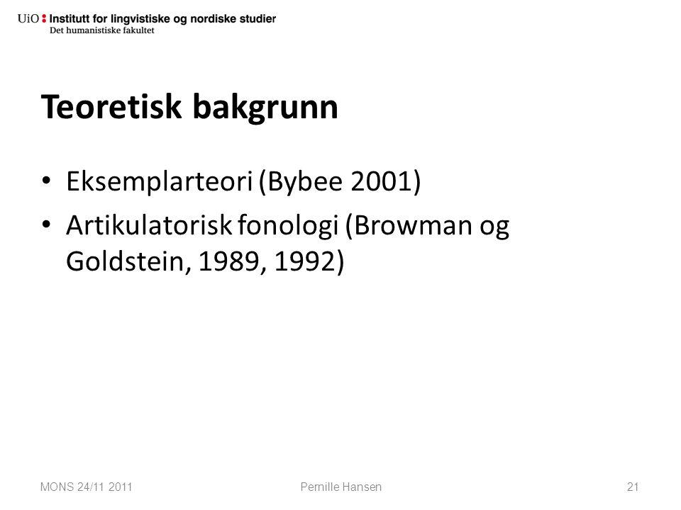 Teoretisk bakgrunn Eksemplarteori (Bybee 2001)