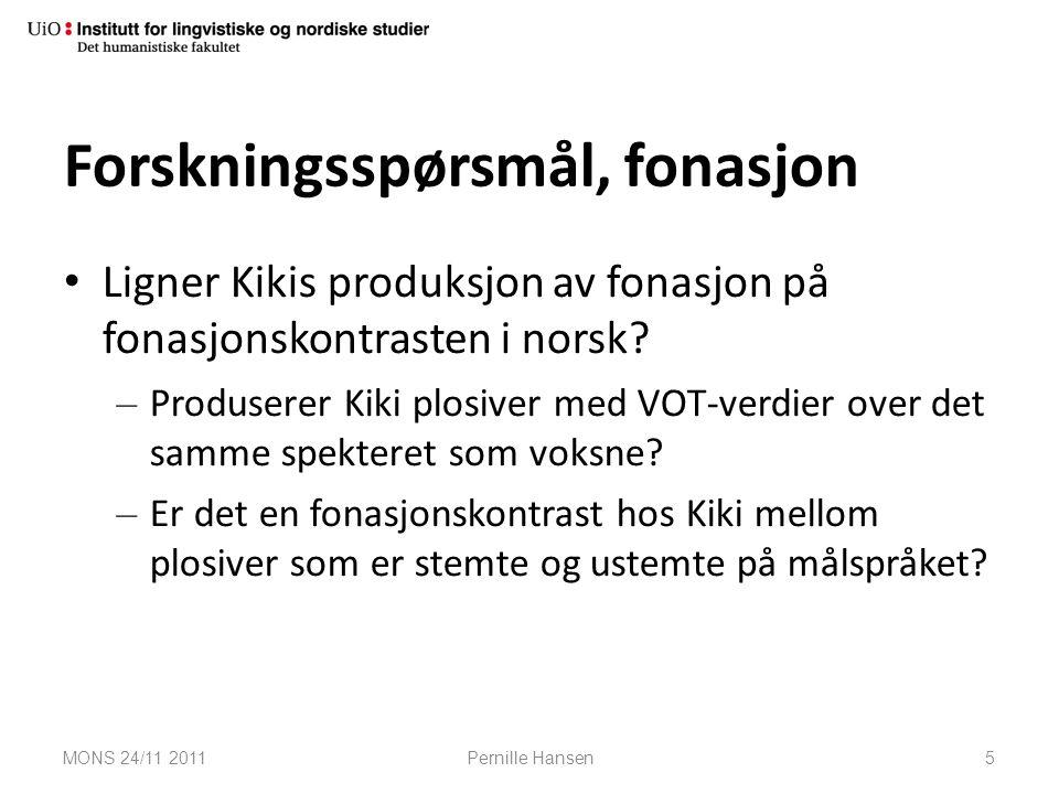 Forskningsspørsmål, fonasjon