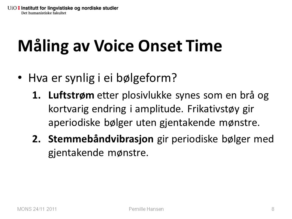 Måling av Voice Onset Time