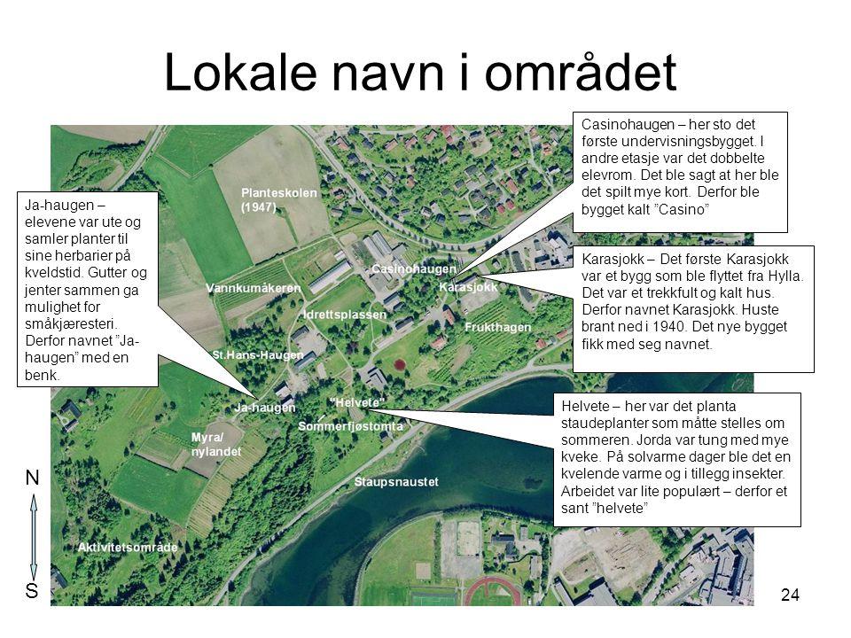 Lokale navn i området N S