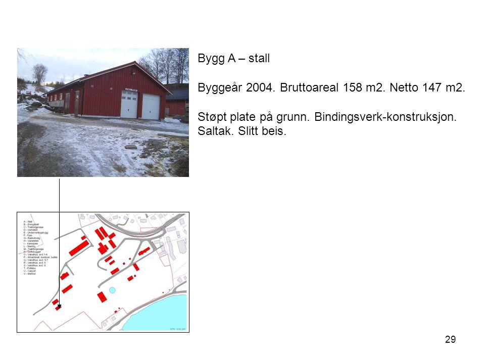 Bygg A – stall Byggeår 2004. Bruttoareal 158 m2. Netto 147 m2.