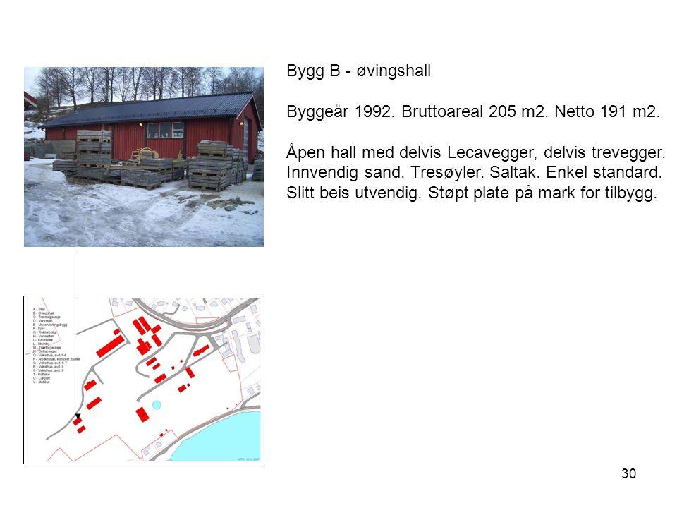Bygg B - øvingshall Byggeår 1992. Bruttoareal 205 m2. Netto 191 m2.