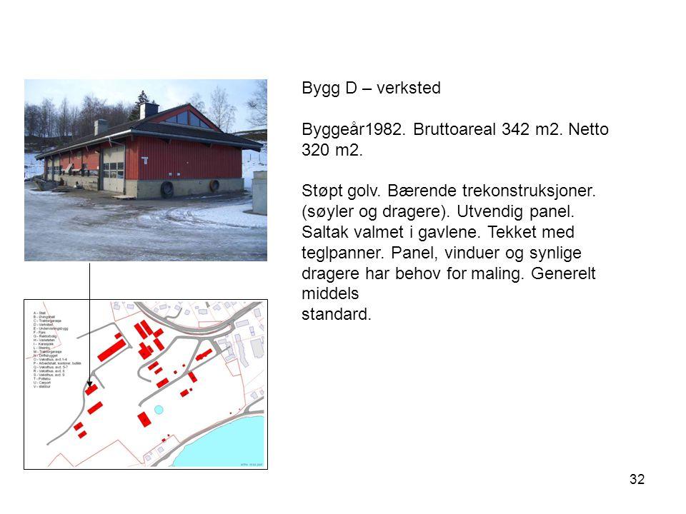 Bygg D – verksted Byggeår1982. Bruttoareal 342 m2. Netto 320 m2.