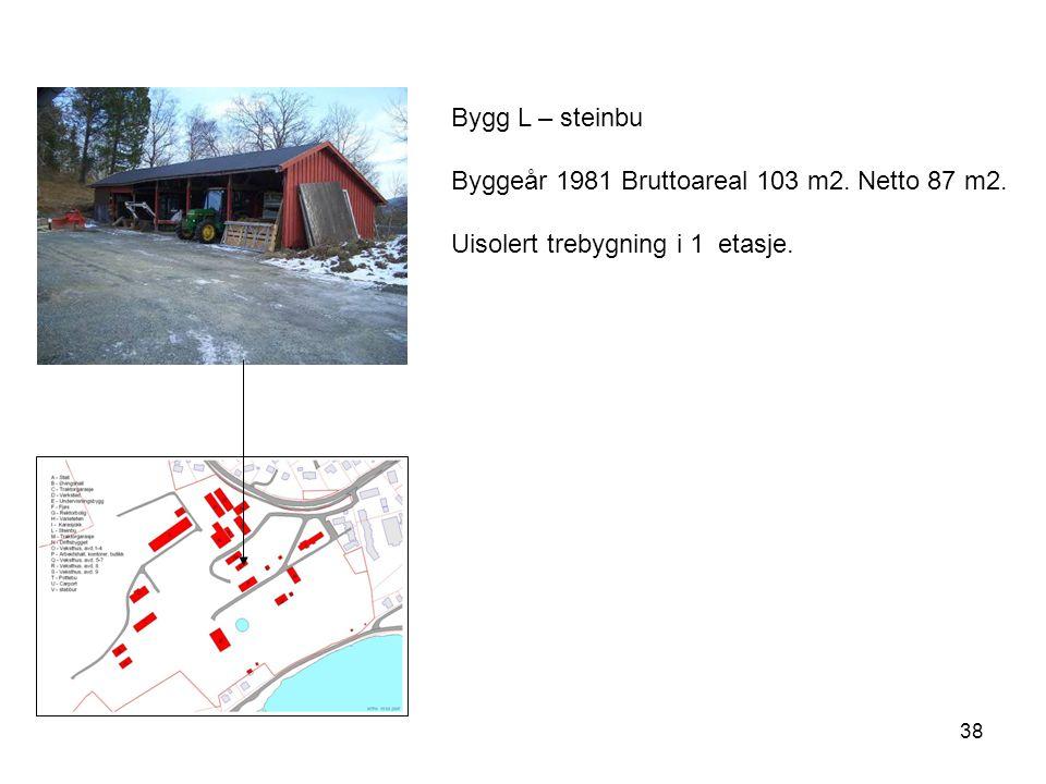 Bygg L – steinbu Byggeår 1981 Bruttoareal 103 m2. Netto 87 m2. Uisolert trebygning i 1 etasje.