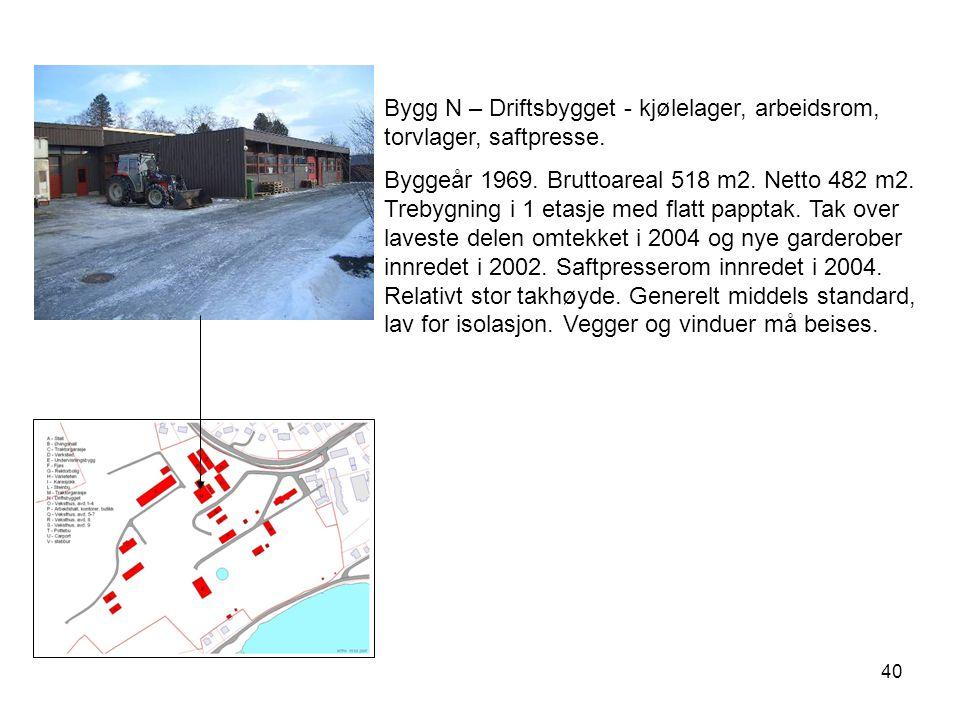 Bygg N – Driftsbygget - kjølelager, arbeidsrom, torvlager, saftpresse.