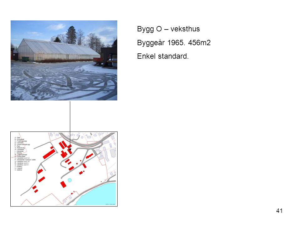 Bygg O – veksthus Byggeår 1965. 456m2 Enkel standard.