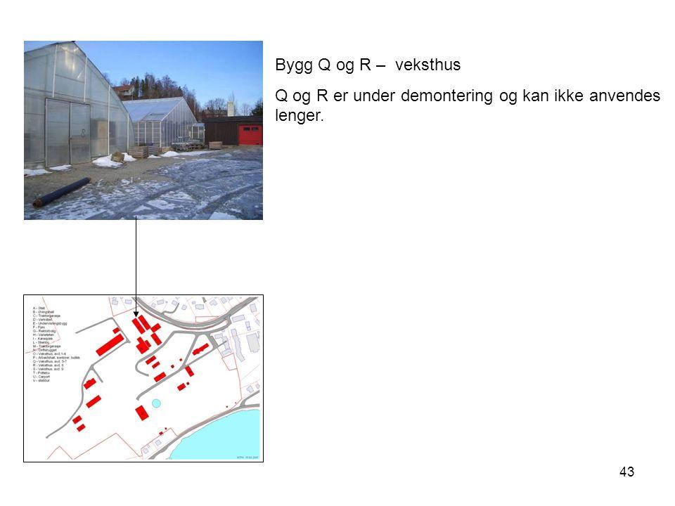 Bygg Q og R – veksthus Q og R er under demontering og kan ikke anvendes lenger.