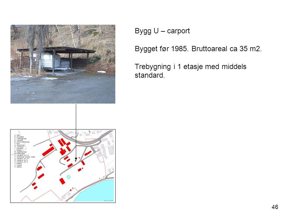 Bygg U – carport Bygget før 1985. Bruttoareal ca 35 m2. Trebygning i 1 etasje med middels standard.