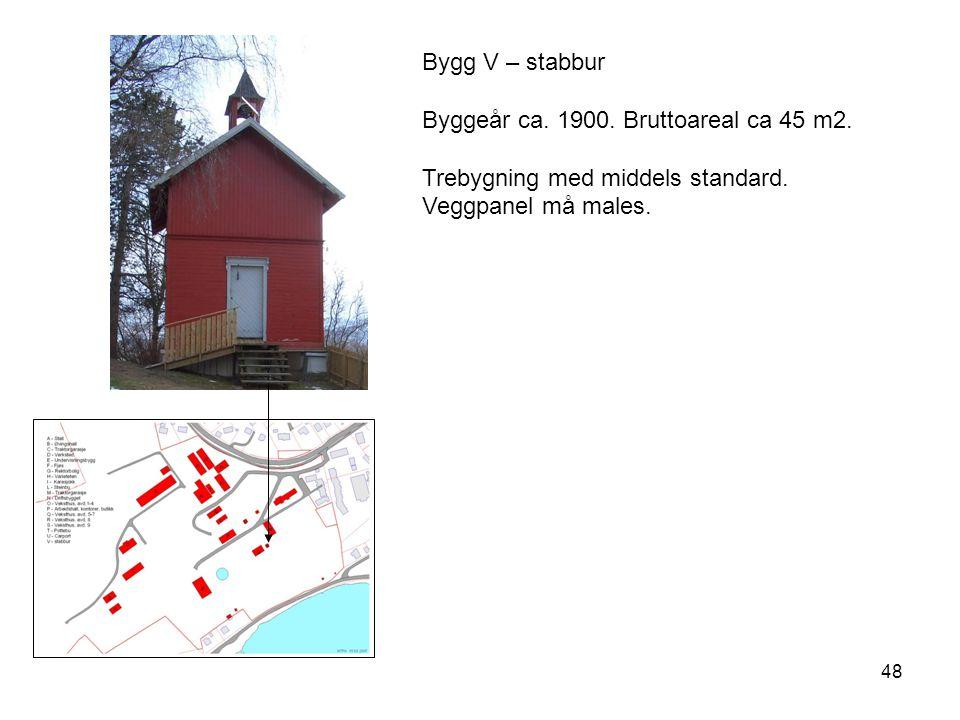 Bygg V – stabbur Byggeår ca. 1900. Bruttoareal ca 45 m2.