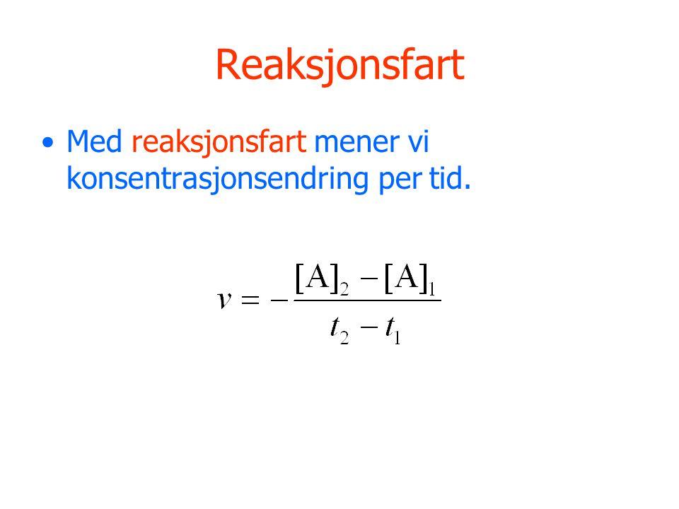 Reaksjonsfart Med reaksjonsfart mener vi konsentrasjonsendring per tid.