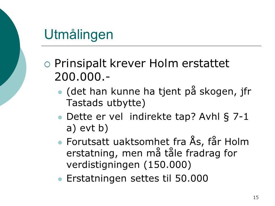 Utmålingen Prinsipalt krever Holm erstattet 200.000.-