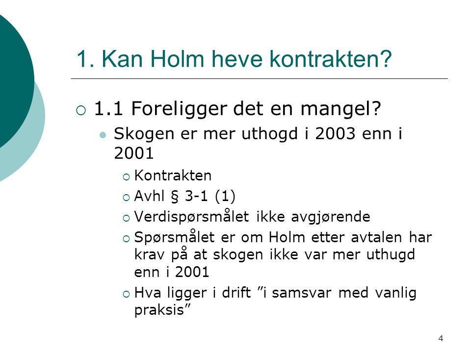 1. Kan Holm heve kontrakten