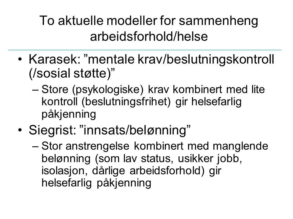 To aktuelle modeller for sammenheng arbeidsforhold/helse