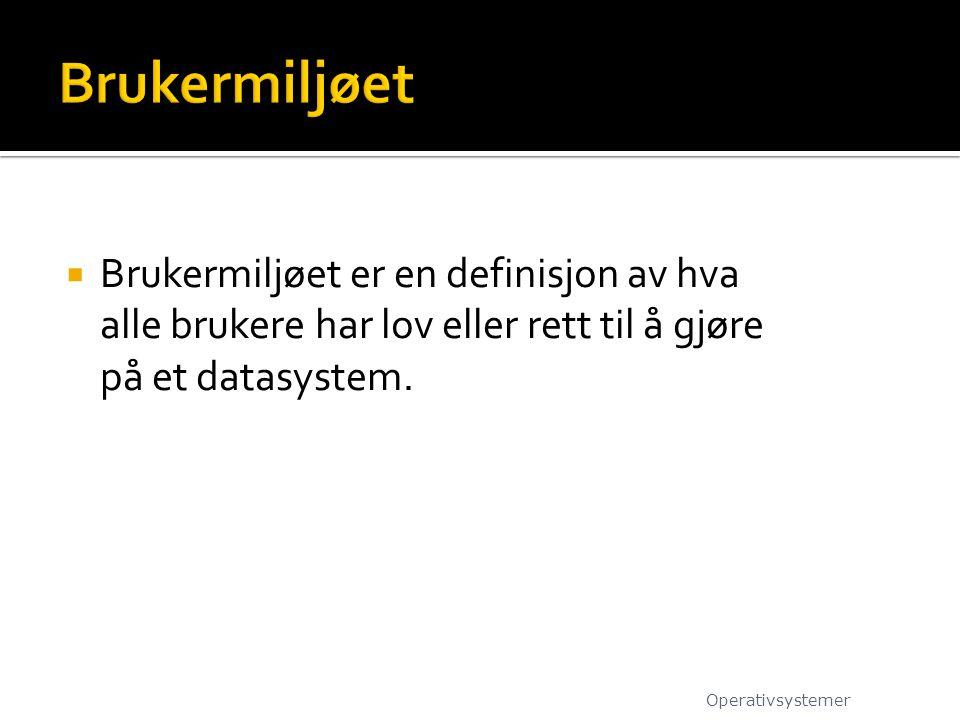 Brukermiljøet Brukermiljøet er en definisjon av hva alle brukere har lov eller rett til å gjøre på et datasystem.