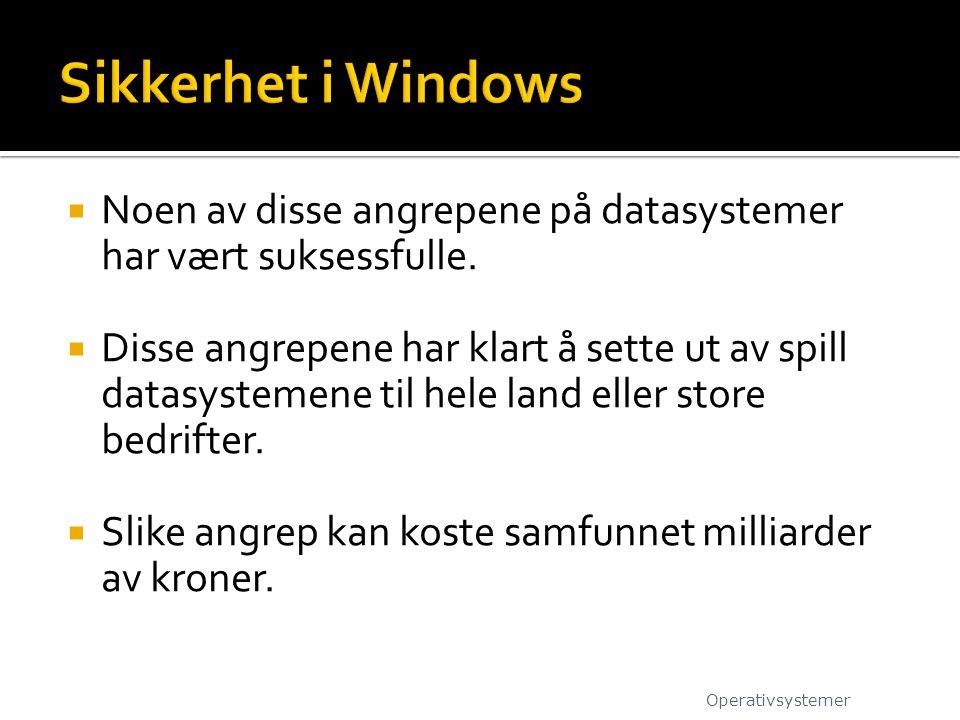 Sikkerhet i Windows Noen av disse angrepene på datasystemer har vært suksessfulle.