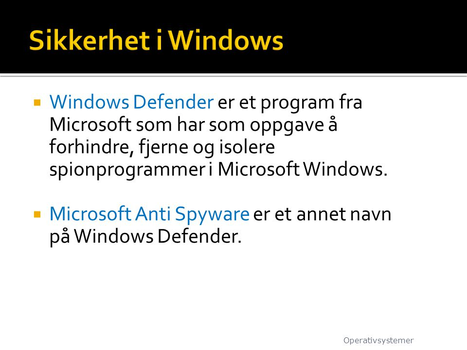 Sikkerhet i Windows