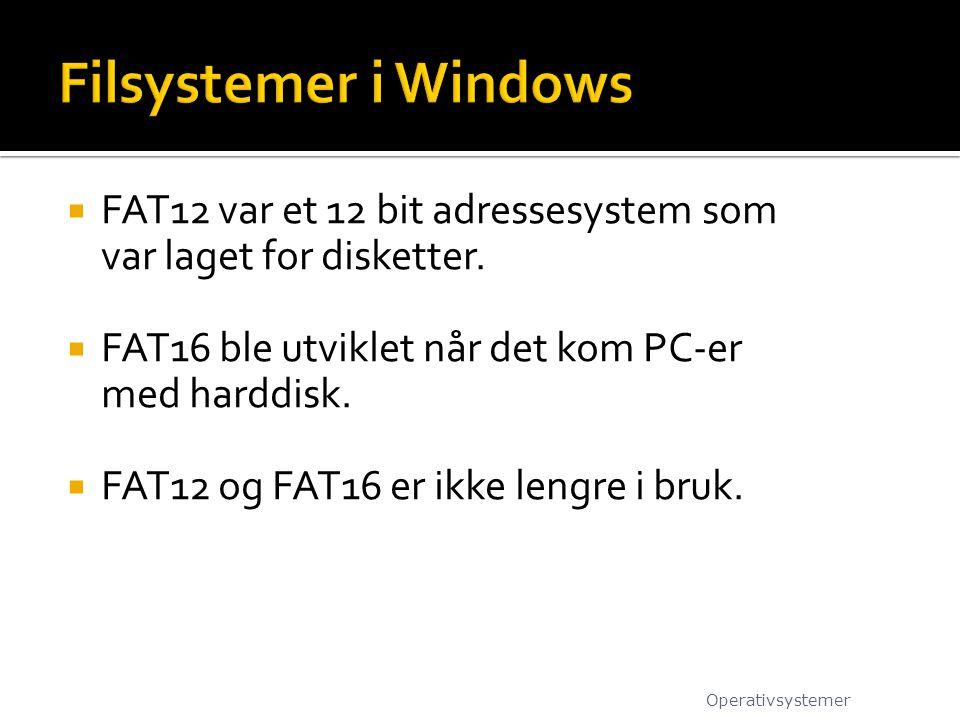 Filsystemer i Windows FAT12 var et 12 bit adressesystem som var laget for disketter. FAT16 ble utviklet når det kom PC-er med harddisk.