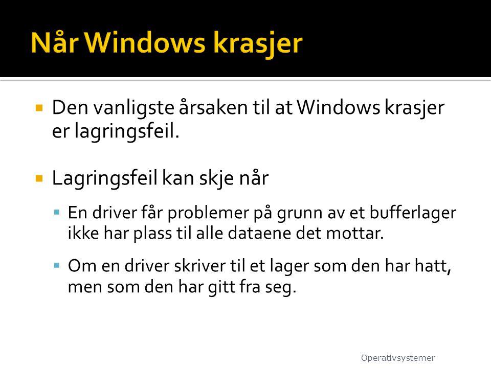 Når Windows krasjer Den vanligste årsaken til at Windows krasjer er lagringsfeil. Lagringsfeil kan skje når.