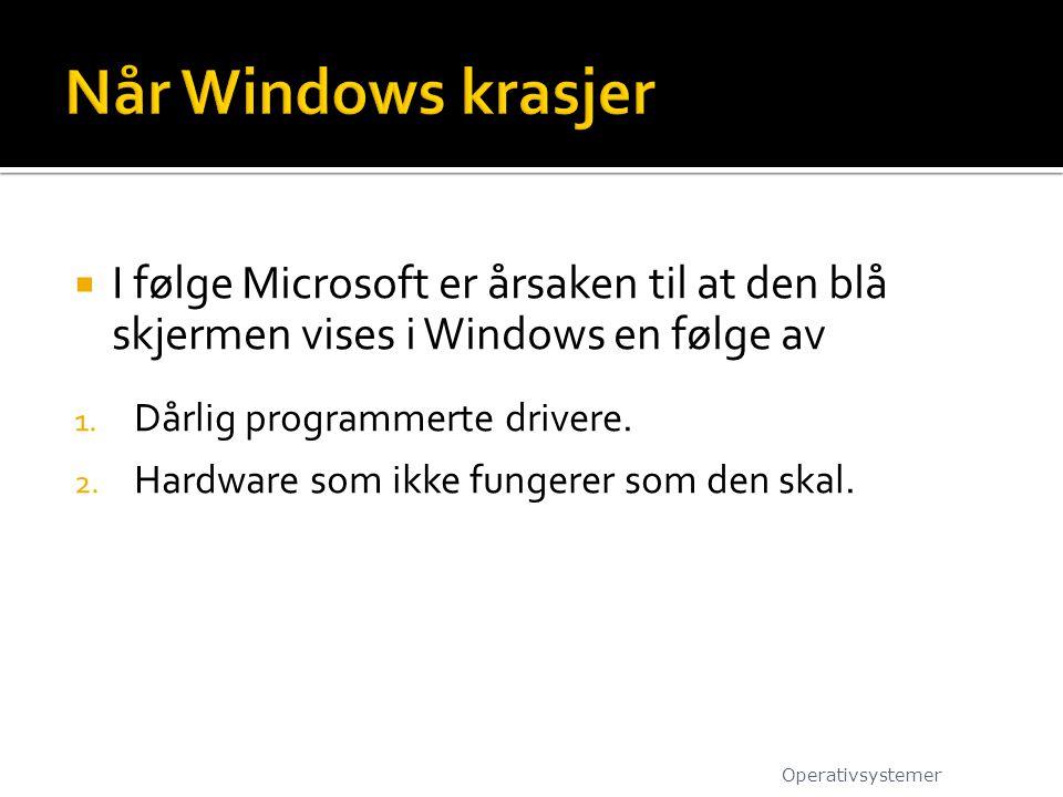 Når Windows krasjer I følge Microsoft er årsaken til at den blå skjermen vises i Windows en følge av.