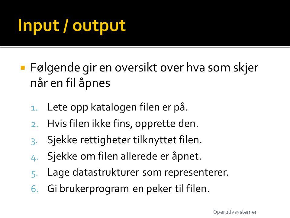 Input / output Følgende gir en oversikt over hva som skjer når en fil åpnes. Lete opp katalogen filen er på.